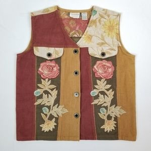 Vtg 90s does 70s Corduroy and Tapestry Vest